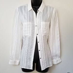 Julio Pinstripe Semi-sheer Button Down Shirt